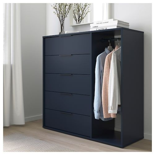 NORDMELA Chest of drawers with clothes rail - black-blue 46 7/8x46 .