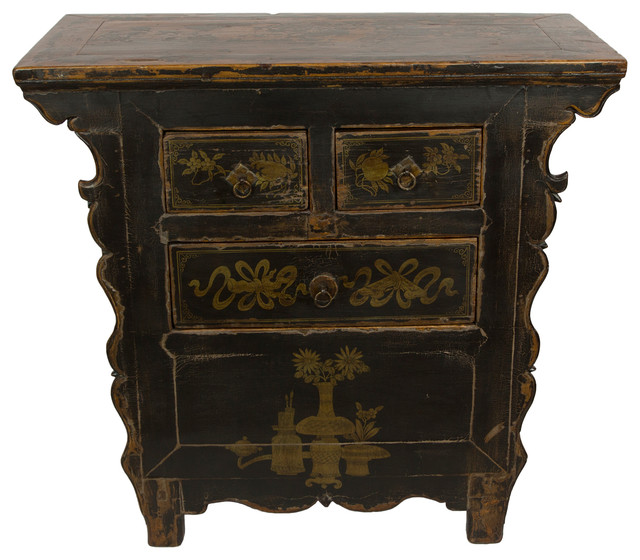 Consigned, Antique Black Gansu 3 Drawer Small Cabinet - Asian .