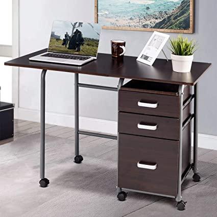 Amazon.com: PATIOJOY Folding Computer Desk Wheeled Home Office .