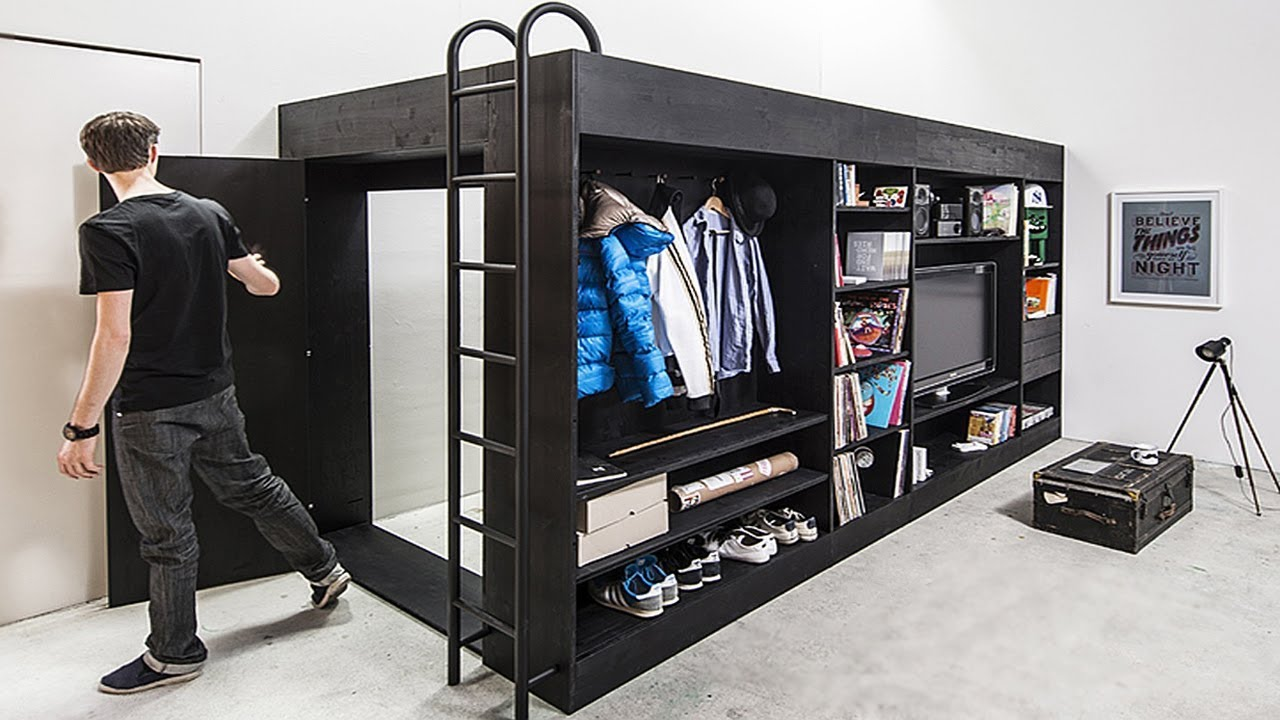 INCREDIBLE BEDROOM AND SPACE SAVING FURNITURE FOR SMALL SPACES .
