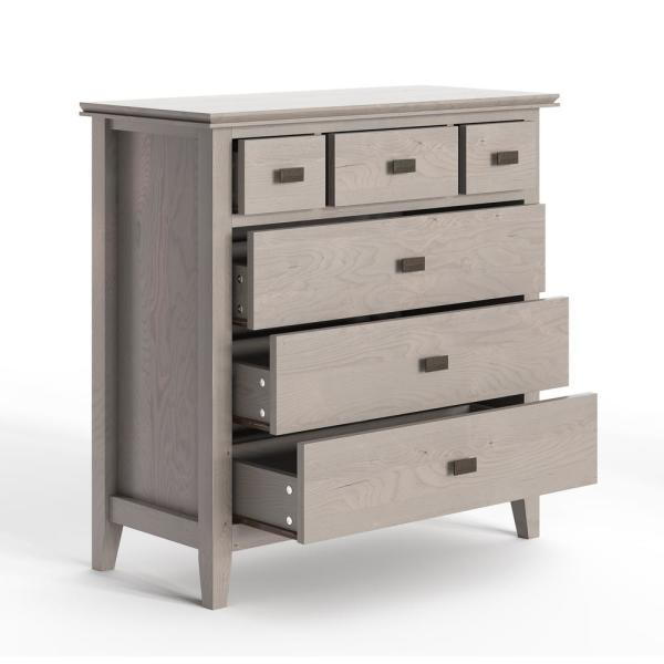 Simpli Home Artisan 6-Drawers Fog Grey Solid Wood 36 in. Wide .