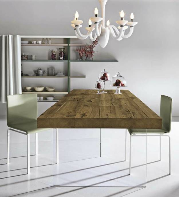 Unique Dining Table Mixing Glass and Solid Wood Furniture Design .