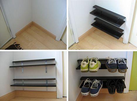 Paired-Down DIY: Elegantly Simple Space-Saving Shoe Rack | Space .