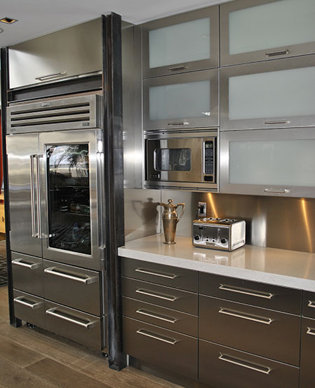 Stainless steel kitchen cabinets, cabinet doors and counterto