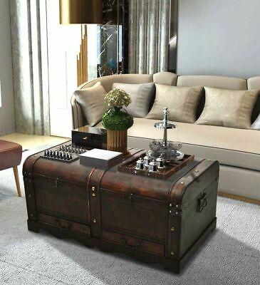 Large Wood Treasure Chest Vintage Coffee Table Storage Trunk .