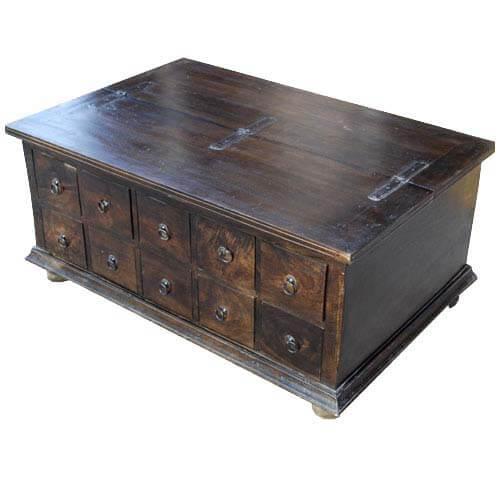 Classic Wood Storage Coffee Table with 10 Drawe
