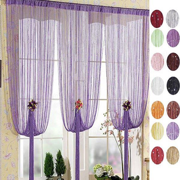 100x200cm silver line curtain window balcony string curtain home .