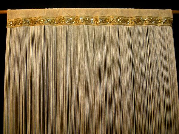 Embroidered Door String Curtain (colour string curtains, effect .