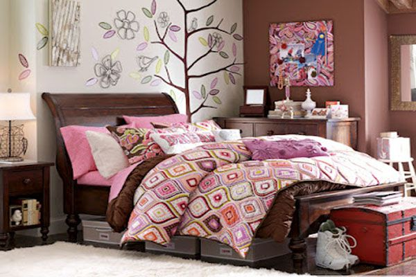 cool bedroom ideas for teenage girls - Design decor brown pink .