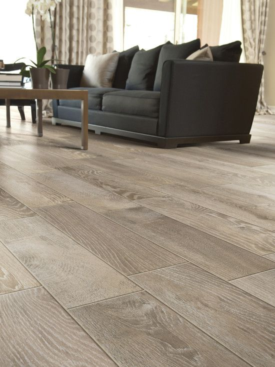 Modern Living Room Floor Tile that looks like wood .... a nice .