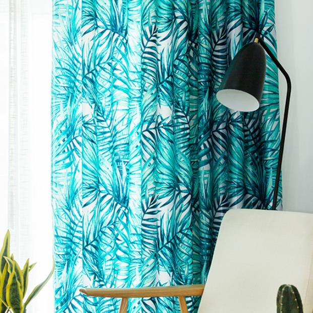 Turquoise Aqua Blue Tropical Leaf Curtains Chic Living Room Drap