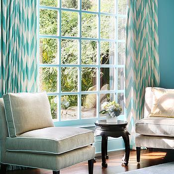 Turquoise Blue Chevron Curtains Design Ide