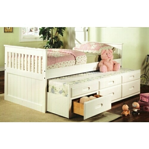 8420 Mission style white finish wood twin size storage trundle b