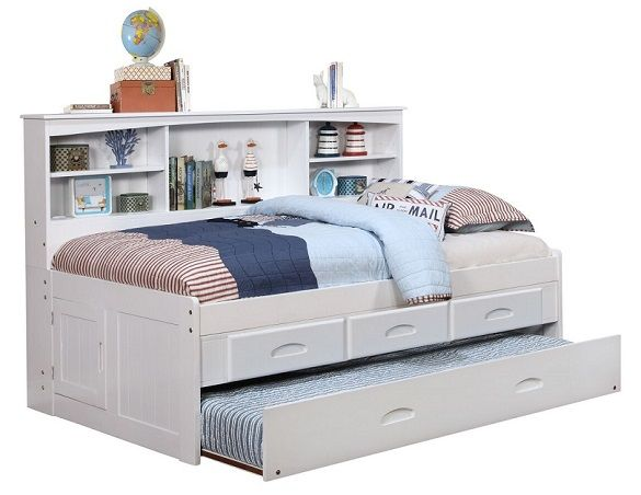 Addie White Big Bookcase Trundle Bed with Stora