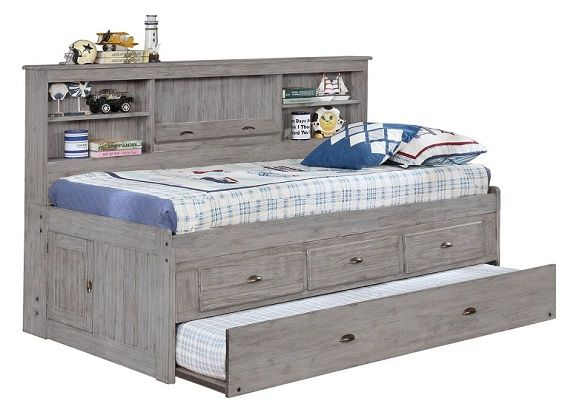 Kraemer Distressed Gray Big Bookcase Trundle Bed with Stora