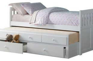 Carissa Twin Over Twin Trundle Bed With Two Storage Drawers, White .