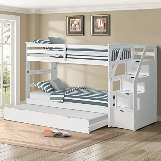 Amazon.com: Harper&Bright Designs Twin-Over-Twin Trundle Bunk Bed .
