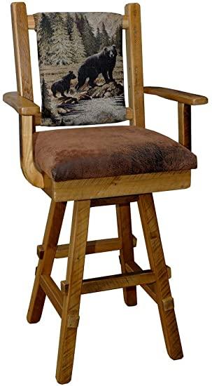 Amazon.com: Rustic Reclaimed Barn Wood Swivel Bar Stool w .
