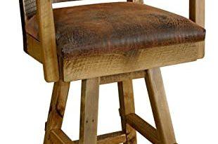 Amazon.com: Reclaimed Barn Wood Swivel Bar Stools with Back, Arms .