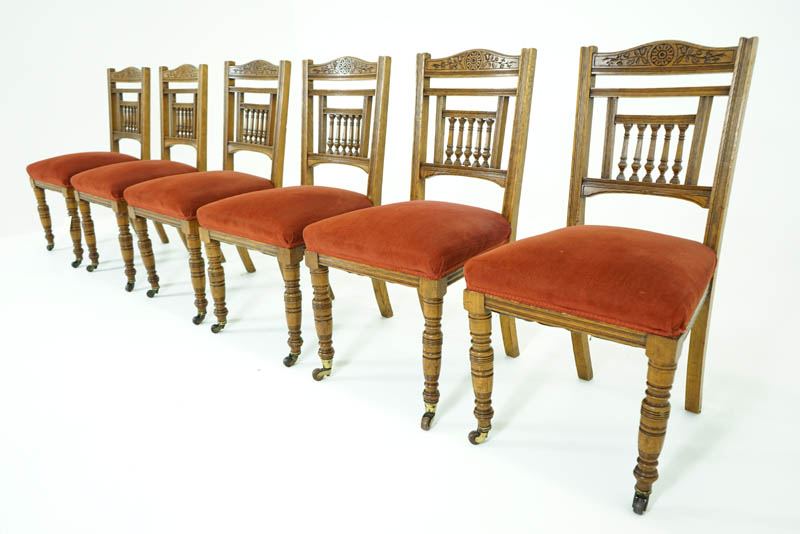 Antique Dining Chairs | Oak Dining Chairs | Victorian, 1890 | B7