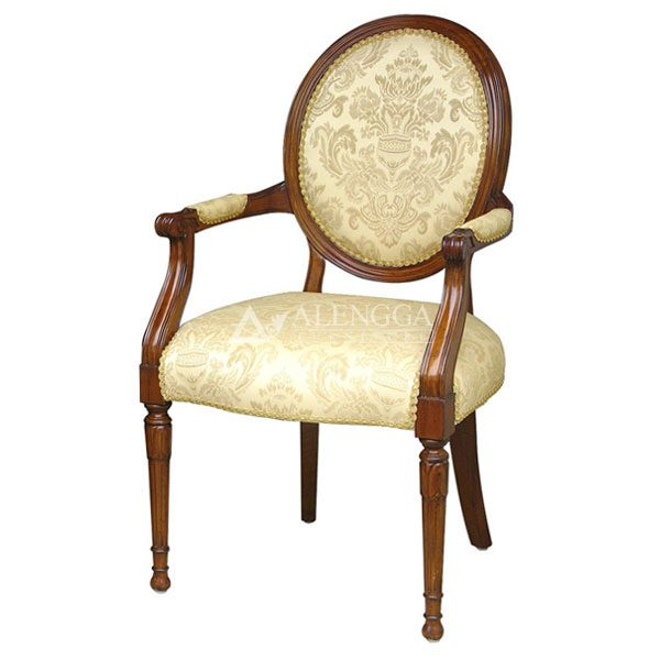 Mahogany Victorian Style Brown Upholstered Arm Dining Cha