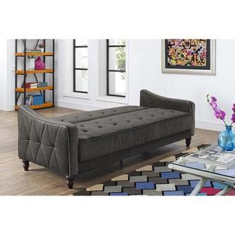 9 by Novogratz Vintage Tufted Sofa Sleeper II, Grey Velo