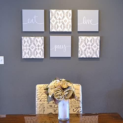 Amazon.com: Gray Eat Pray Love Wall Art Set Eat Drink Be Merry .