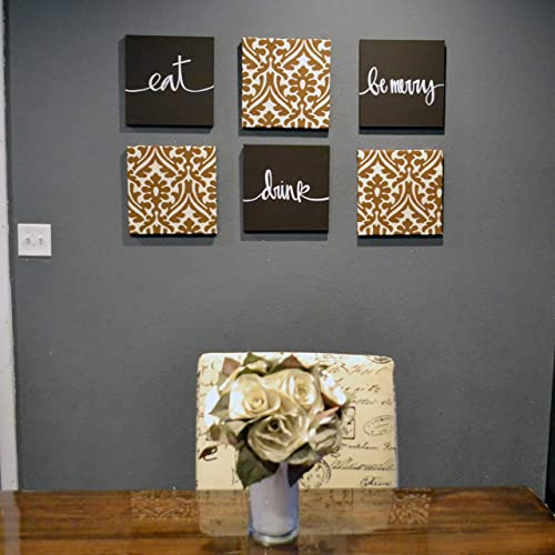 Amazon.com: Brown Eat Drink Be Merry Dining Room Wall Art Set .