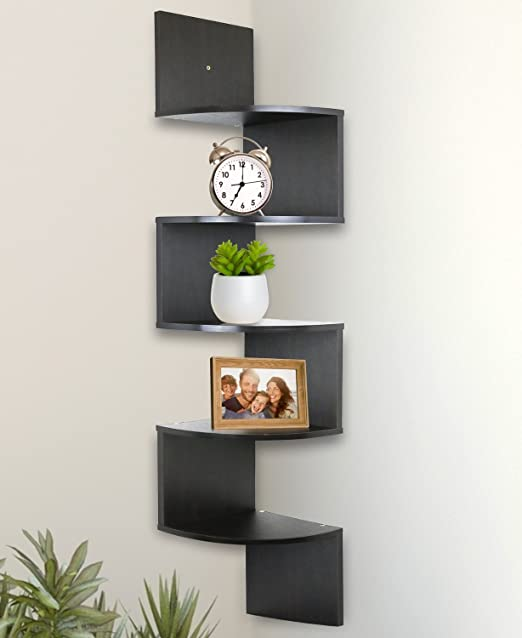 Wall Mounted Corner Bookshelf