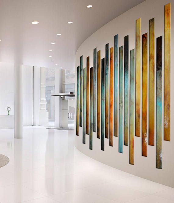 Large Painting multiple panels, foyer art, curved Large Wall art .
