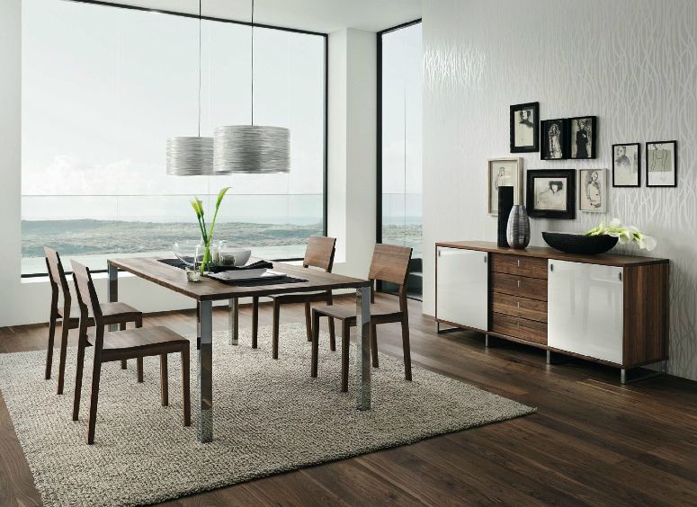 Furniture: Dark Walnut Beautiful Dining Furniture, Wooden .