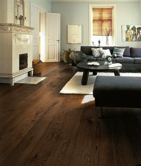 dark floor & black couch, living room | Living room hardwood .