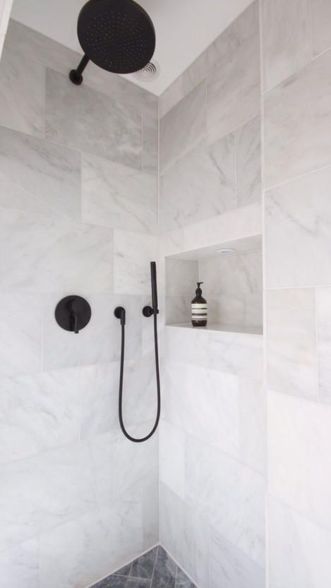 Image result for black tapware bathroom | Bathroom tile designs .
