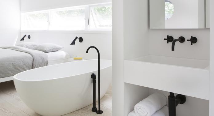White Bathrooms With Black Taps