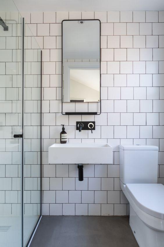 Bathroom, black and white bathroom, industrial luxe, industrial .