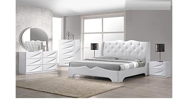 Amazon.com: Modern Madrid 4 Piece Bedroom Set Queen Size Bed .