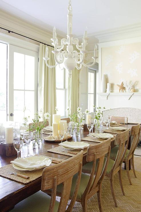 Beige and Green Dining Room with Fireplace - Cottage - Dining Ro