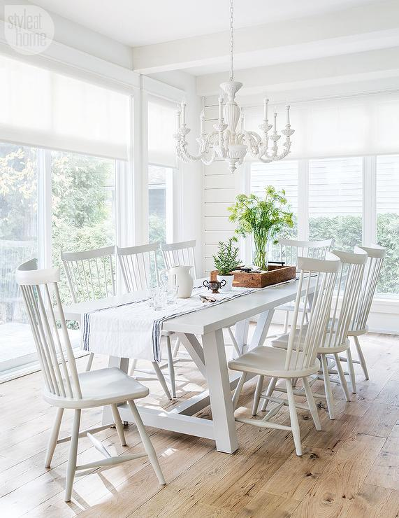 White Trestle Dining Table with White Windsor Dining Chairs .