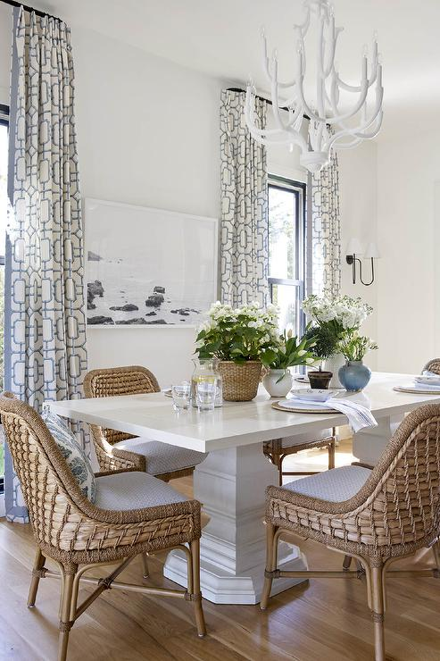 Glossy White Dining Table with White Chandelier - Cottage - Dining .