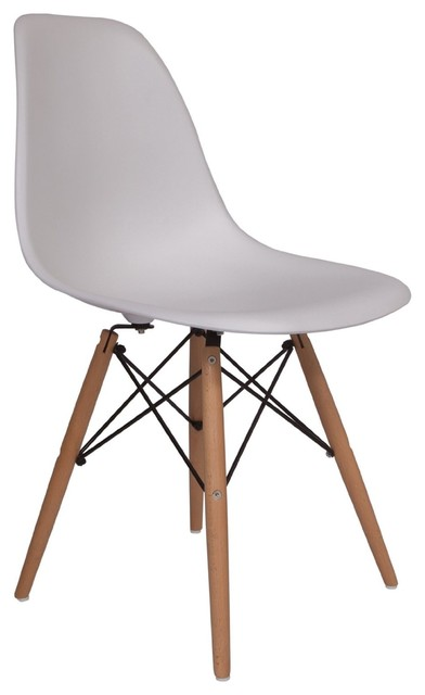 Molded Plastic Side Chair Wood Leg Base White Shell By Lemoderno .