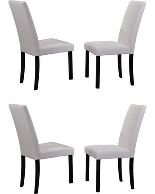 Sales for Flint Parsons Dining Chairs, White Faux Leather & Black .