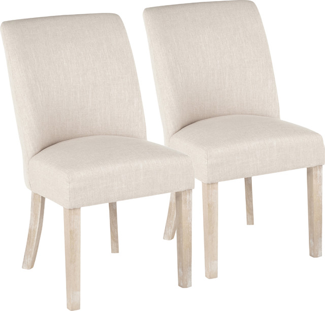 Tori Farmhouse Dining Chair, White Washed Wooden Legs, Set of 2 .