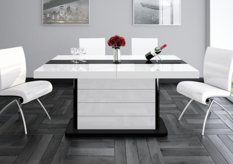 PIANOSA White Gloss Dining Table with Extension – Maxima Hou