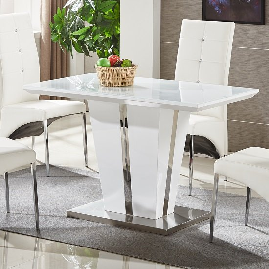 Memphis Glass Dining Table Small In White Gloss And Chrome Base .