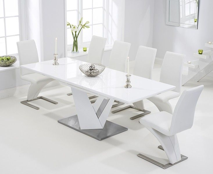 Harmony 160cm White High Gloss Extending Dining Table with .