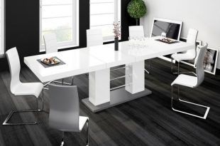 Shop LINOSA High Gloss Dining Table with Extension - White .