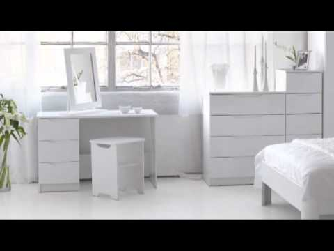Alpine White High Gloss Bedroom Furniture - YouTu