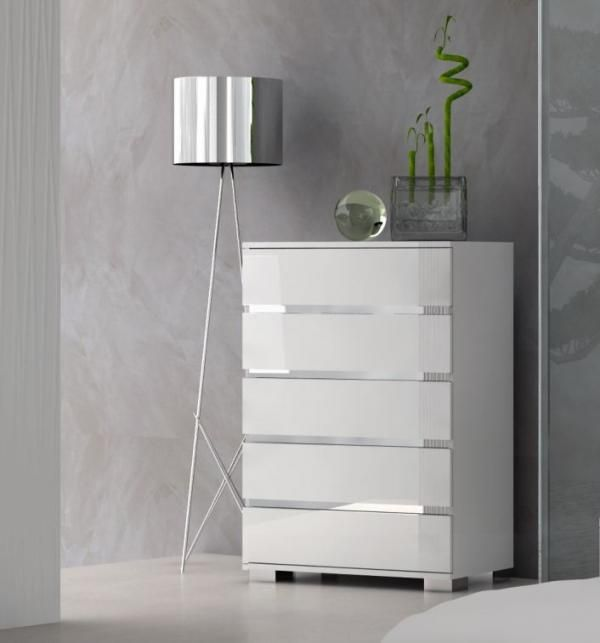Dream, 5 Drawer Chest of Drawers in White High Gloss - See more at .