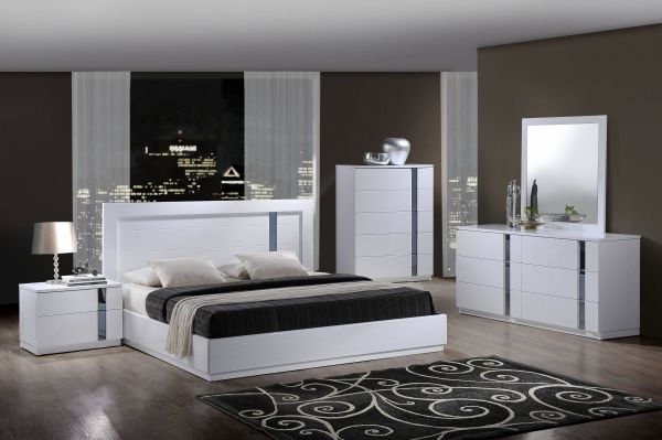 Jody White High Gloss MDF Wood Master Bedroom Set | Modern white .