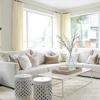 Off White Sectional with Pink and Gray Pillows | Leather couches .